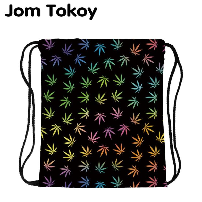 JomTokoy New Fashion Women Drawstring Backpack Tree Leaf Printing Travel Softback Women Mochila Drawstring Bags Skd29076