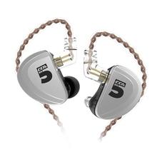 CCA A10 5BAหูฟัง5 Balanced Armature HIFIการตรวจสอบหูฟังที่ถอดออกได้2PINสายCCA A10 C16 KZ AS10 AS16