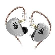 CCA A10 5BA באוזן אוזניות 5 אבזור מאוזן HIFI ניטור אוזניות עם נתיק 2PIN כבל CCA A10 C16 KZ AS10 AS16