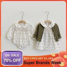 Комбинезон для новорожденных девочек; Модное белое платье с цветочным рисунком; Одежда для малышей; Хлопковый комбинезон для маленьких дев...