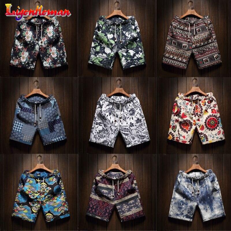 Men's Hawaiian Beach Floral Shorts Large Size M-5XL Summer Men's Thin Section Fashion Straight Linen Bermuda Casual Short