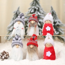 1 Pair Knitted Wooden Plush Doll Christmas Pendant Drop Xmas Tree Hanging Pendants Decor Holiday Ornaments Gift for Kids