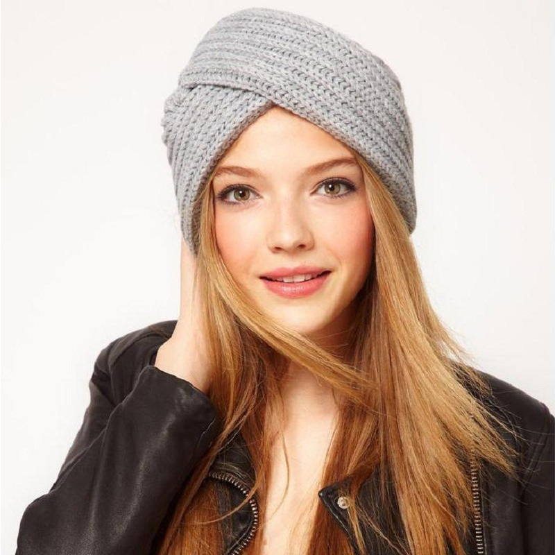 India Cross Knitted Beanies Winter Autumn Hat For Womens Solid Color Cashmere Soft Beanies Hats For Girls Muslim Fashion Caps