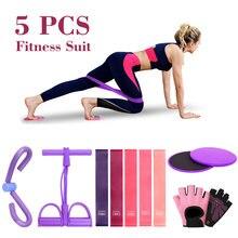 5 pces exercício sliders núcleo com faixa de resistência workout fitness sliding discos yoga casa elástico hiptrainer expansor equipamentos
