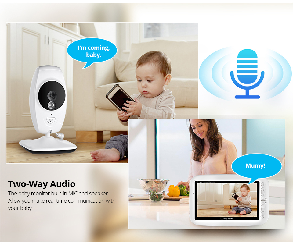 7 Inch Wireless Baby Monitor With 720P HD Screen Camera To Check Your Baby Monitor Screen 13