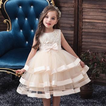 2018 dzieci elegancka perła ciasto księżniczka sukienka dziewczyny sukienki na wieczór weselny Party haftowany kwiat dziewczyna sukienka dziewczyna ubrania tanie i dobre opinie bibihou SILK 25-36m 4-6y 7-12y CN (pochodzenie) Lato Do kolan O-neck REGULAR bez rękawów Na co dzień Dobrze pasuje do rozmiaru wybierz swój normalny rozmiar