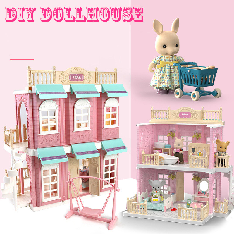 Japan Forest Sylvania Animal DIY Families Double Decker Bus Doll House Kitchen Miniature Dollhouse Furniture Toys for Children