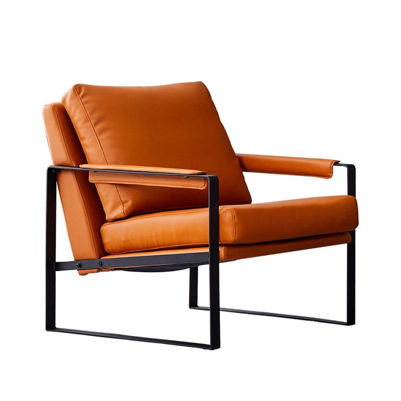 Nordic Single Sofa Chair Modern Minimalist Light Luxury Wrought Iron Designer Lazy Leather Chair Living Room Chair