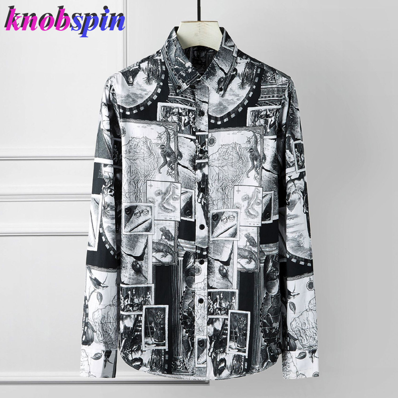 2019 Brand Printed Shirt Men Casual Long Sleeve Slim Chemise Homme High Quality Business Male Dress Shirts Plus Size 4XL Camisas