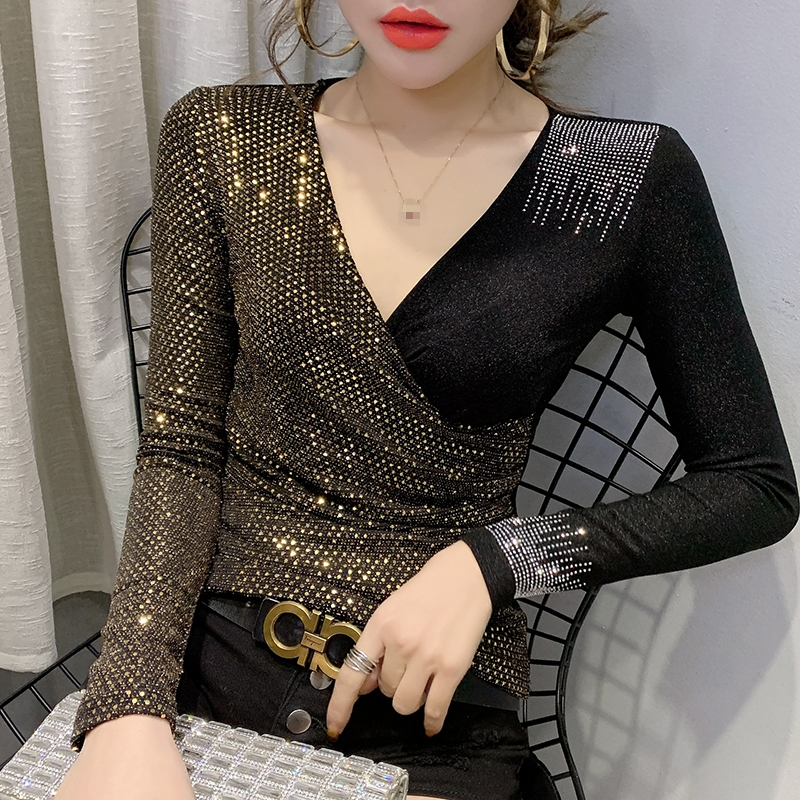2020 Spring Autumn Clothes Sexy V-Neck Shiny Patchwork Diamonds T-shirt Women Tops Ropa Mujer Bright Bottoming Shirt Tees T9D005