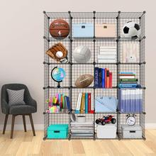 Metal Wire Storage Bookcase Bookshelf Toy rack Industrial Decoration DIY Storage Home furniture Wire Standing Storage Wardrobe