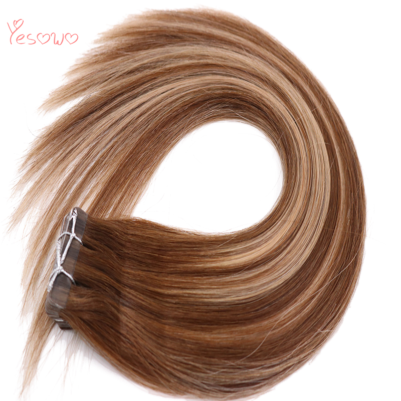 Yesowo Skin Weft Brazilian Remy Human Hair Straight 14Inch 20pcs 50g #4/24/4 Highlight Glue On Tape In Human Hair Extensions