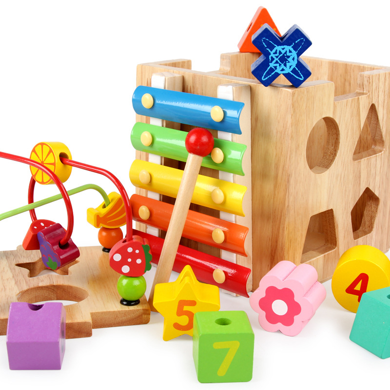 Children Wooden Large Size Multi-functional Educational Large Bead-stringing Toy Treasure Chest Infants Early Childhood Intellec