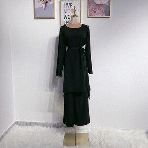 Image 3 - アバヤドバイイスラム教徒ヒジャーブドレスカフタンarabes mujerカフタントルコイスラムの服アンサンブルファムmusulmane 2個