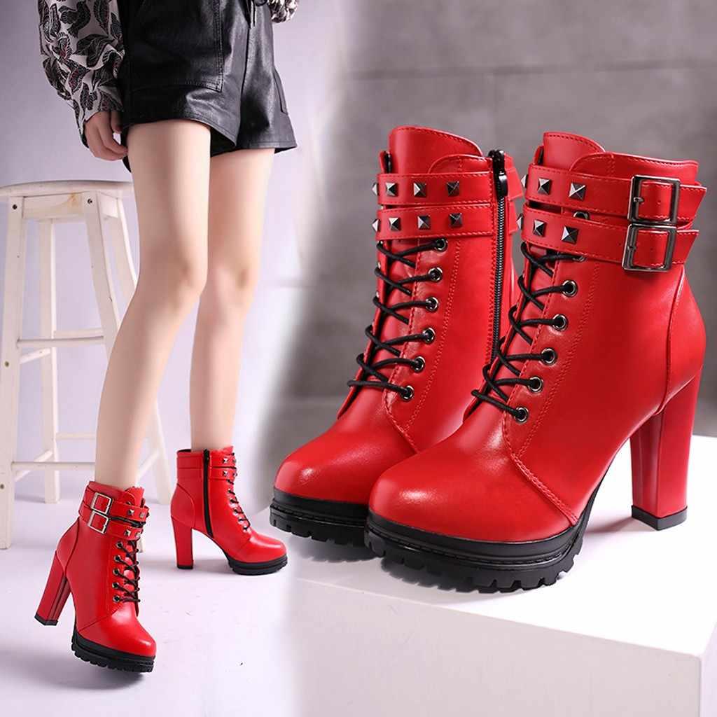 Botas de mujer de tacón alto con cremallera de Color sólido botas cortas remaches tacones Suqare zapatos de talones sexis zapatos de punta redonda Cuir Femme zapatos