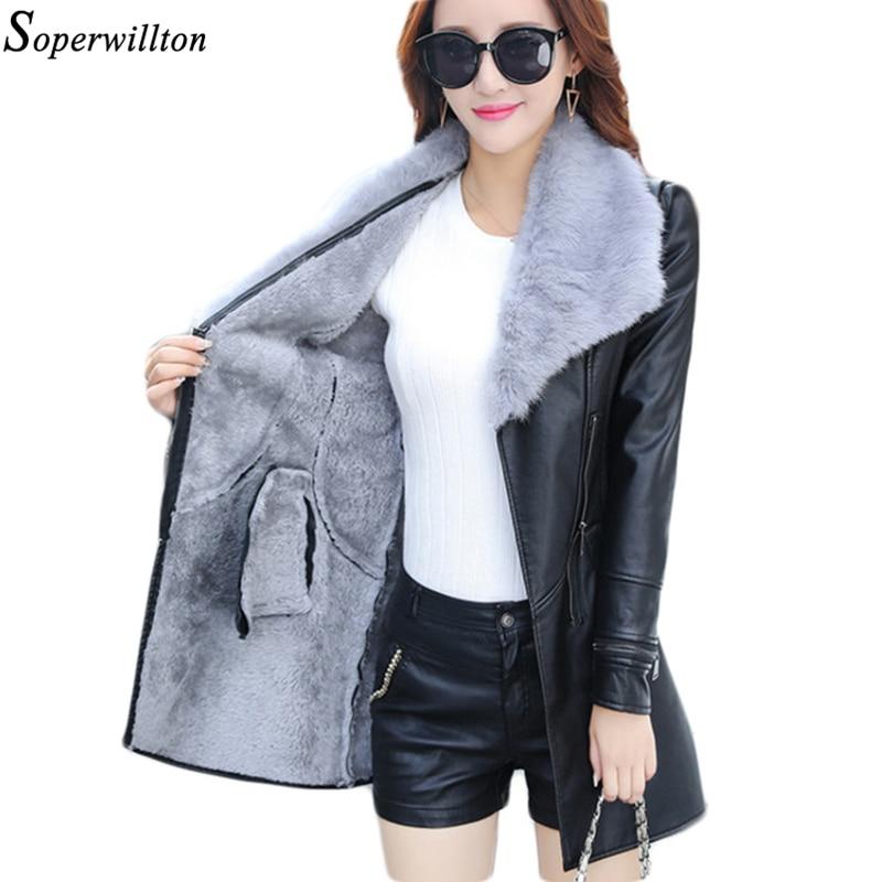 Leather Jacket Women Suede Coat Female 2018 Winter Long Sleeve Faux Leather Coat Motorcycle Fur Jacket