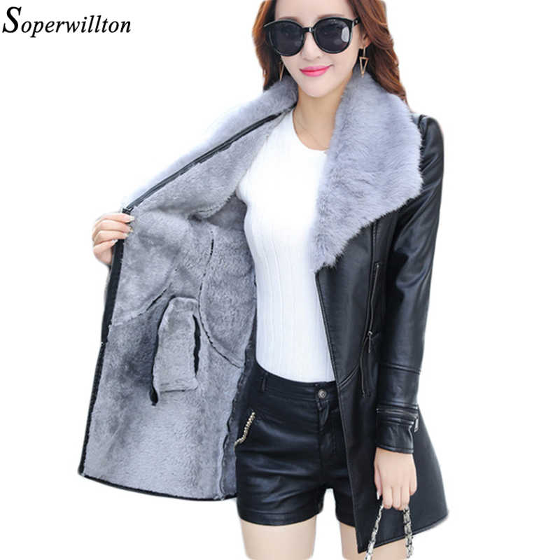 Leather Jacket Women Suede Coat Female 2019 Winter Long Sleeve Faux Leather Coat Motorcycle Fur Jacket Ladies PU Plus Size PR9