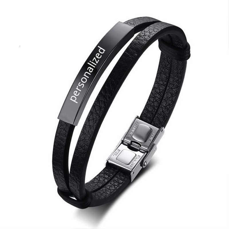MEN'S LEATHER BRACELET BANGLE DOUBLE WRAP ID PERSONALIZED INSPIRATION ENGRAVABLE MALE NAME INITIAL BRAZALETE