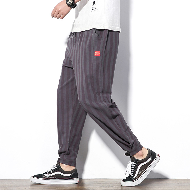2019 Summer New Style Japanese-style Large Size Chinese-style Cotton Linen Stripes Pants Men's Loose-Fit Fashion Skinny Linen Pa