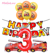 Fire Truck Birthday Party Decoration Banner Ballons Cake Topper Fireman Firefighter Baby Shower 3th 4th Birthday Party Supplies