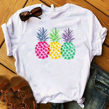 Watercolor Pineapple Print T Shirt Women Tshirt Fashion Summer Female Tops Tee C