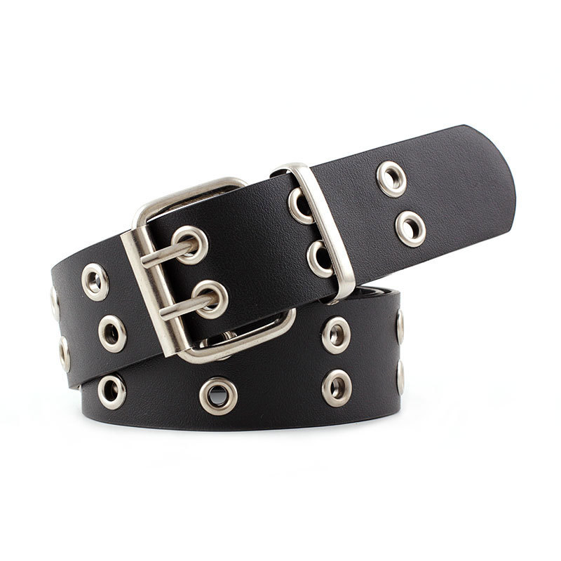 2020 New Punk Rock Black Tan Wide Waist Belt With Metal Chain Waistband Womens Grommet Double Pin Buckle Eyelet Belts For Women