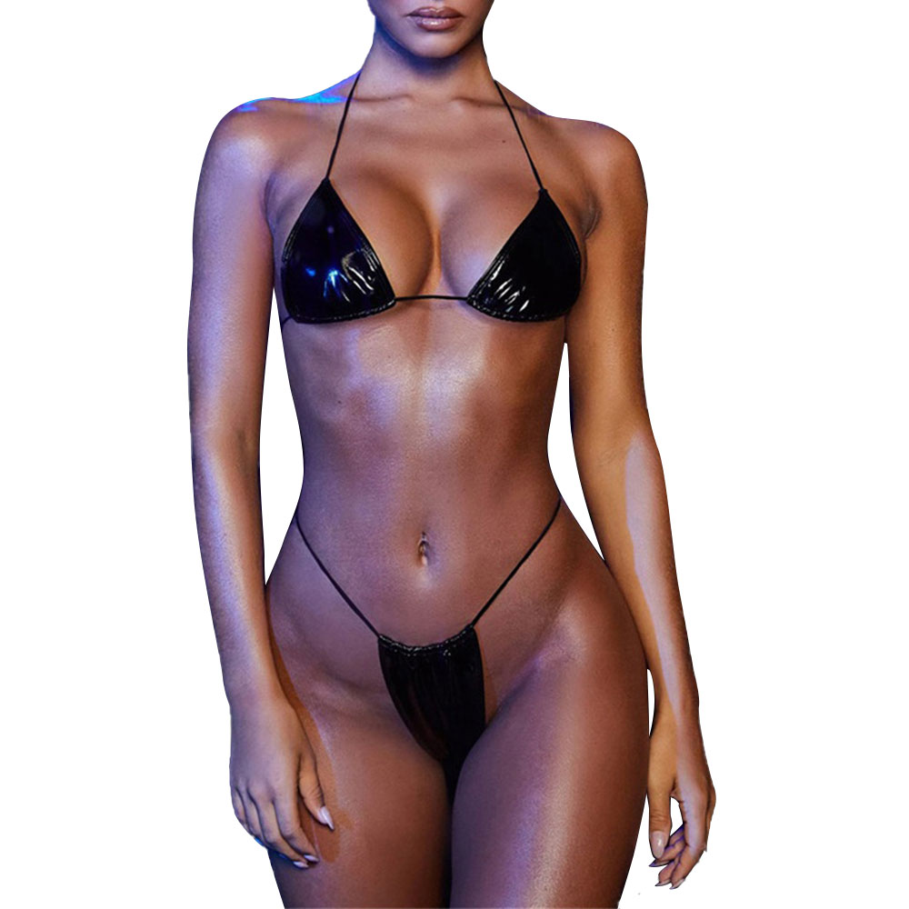 Sexy Thong Bikini Women Pu Leather Bandage Swimwear 2020 New Push Up Padded Swimsuit Brizilian Beach Bathing Suit Women