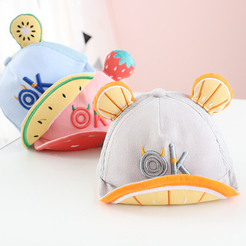 цена на Cartoon Baby Hat Cap Summer Spring Adjustable Baseball Cap Cute Striped Cotton Kids Sun Hat Baby Boy Girl Hats With Ears high qu