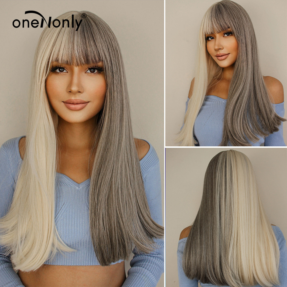 oneNonly Long Straight Light Blonde and Gray Two Tone Omber Synthetic Wigs with Bangs for Women Christmas Cosplay Party Hair