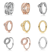 Silver Color Ring Charms  Diy Rose Gold Crown Round Shape Crystal Finger Ring For Women Party Jewelry retro style engraving rose shape women s finger ring