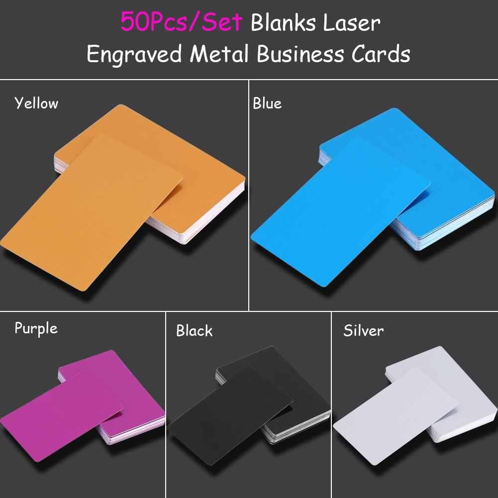50 Stuks Metalen Visitekaartjes Aluminium Blanks Kaart Voor Klant Lasergravure Diy Gift Cards 7 Kleuren Optioneel (goud)