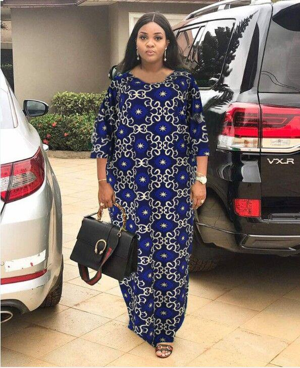 2019 Fashion African Dashiki Long Dresses For Women Short Sleeve Casual Print African Clothes