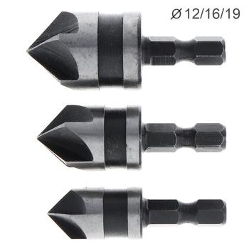 цена на Woodwork Hole Saw 3pcs /lot  5 Flute 90 Degree Hex Shank 12-19mm Chamfer Cutter Countersink for Woodworking Openings