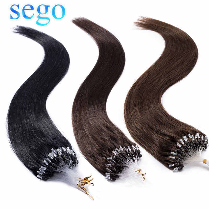 "SEGO 1g/s 50pcs 16""-24"" Micro Rings Beads Loop Hair Extensions 100% Real Human Hair Non-Remy Straight Brazilian hair"