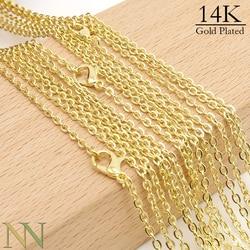 50 pièces-18/24/30 pouces colliers de chaîne en or pour les femmes, chaîne de collier en or 14 K, 14Kt collier de câble de lien ovale en gros