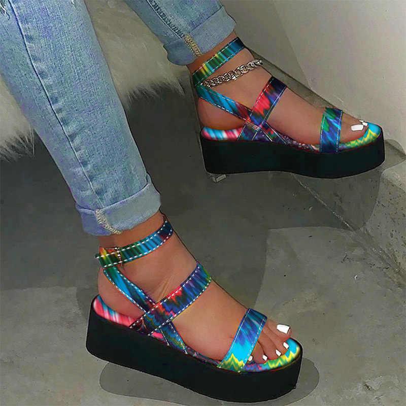 MCCKLE/женские босоножки; Яркие летние женские босоножки на плоской платформе с принтом и ремешком на щиколотке; Sandalias Mujer; Женская повседневная обувь