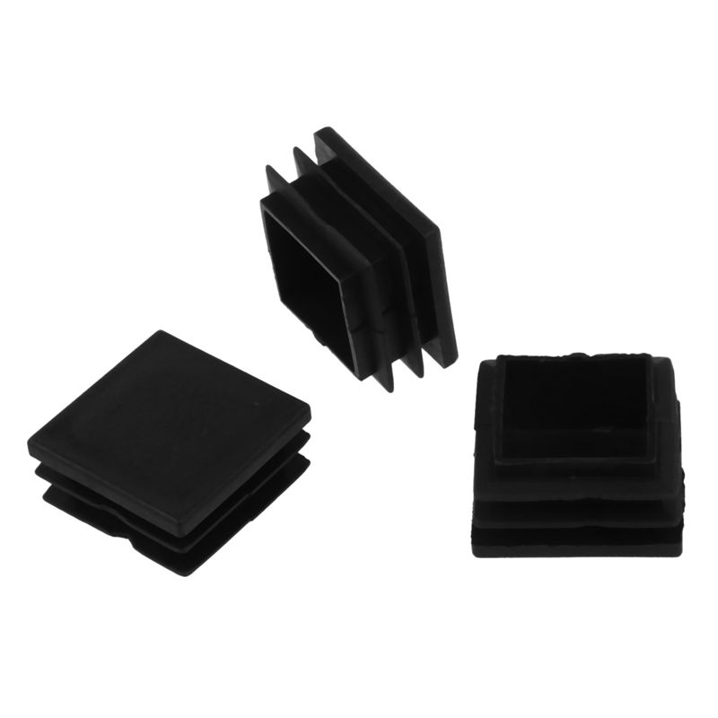 12 Pcs Plastic Ribbed Square End Caps Tube Insert Black, 45*45mm