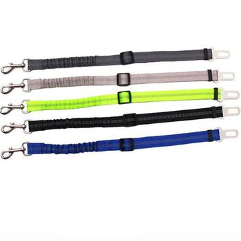 Pet Supplies Traction Rope Reflective Nylon Retractable Elastic Dog Seat Belt Pitbull Puppies Car Safety Rod Automatic image