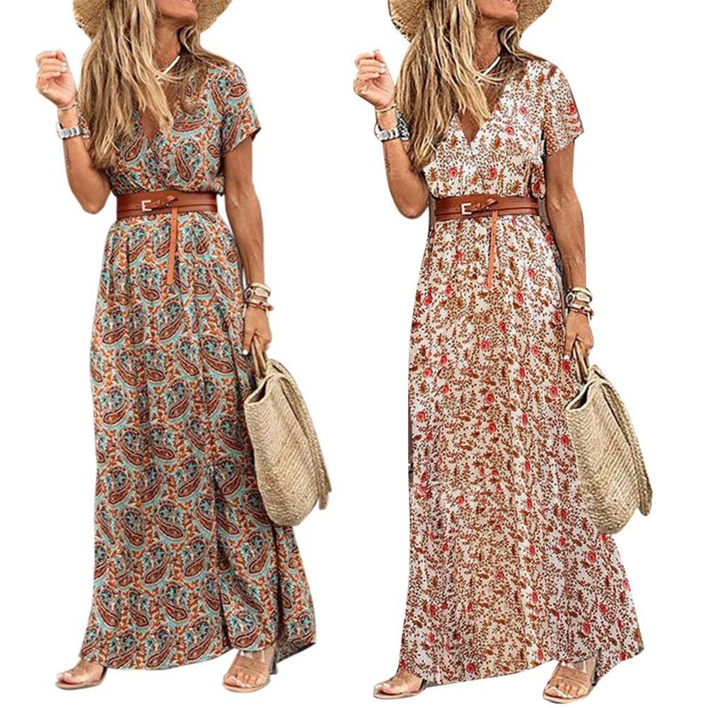 Fashion Boho Long Dress for Women V Neck Short Sleeve Paisley Print Belt Large Hem Beach Long Dress Elegant Women's Dress 2021