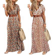 Fashion Boho Long Dress for Women V Neck Short Sleeve Paisley Print Belt Large Hem Beach Long Dress Elegant Women