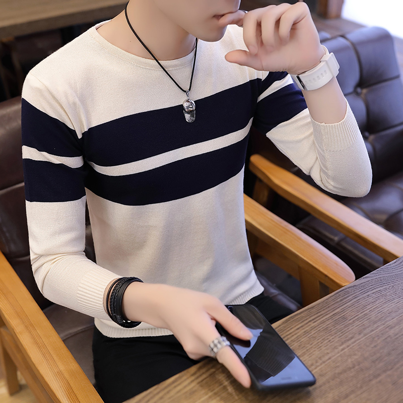 Autumn Men Sweater O-Neck Mens Pullover Sweater Male Coat Man Striped Sweaters Pull Clothes Long Sleeve Homme Shirt Spring K271