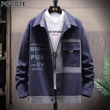 Фирменный цвет POVOTE мужчин блокирует куртка с капюшоном пальто хип-хоп куртка корейский тенденция оснастки тенденция дизайн