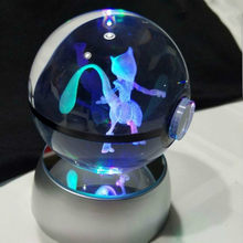 Diámetro 5cm Mewtwo Glass Pokemon lámpara de mesa de escritorio de bolsillo Led lámpara de escritorio Monster Mewtwo luz de noche Led 3D(China)
