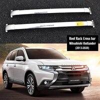 Aço inoxidável Rack De Teto Para Mitsubishi Outlander 2013 2020 Trilhos Bar Bagageiro Bares top Cross bar Rack Ferroviário caixas|Caixas e racks p/ telhado|   -