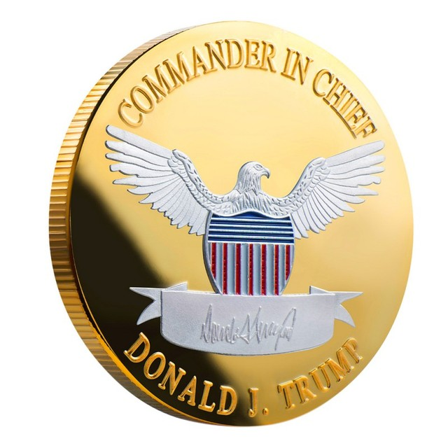 2020 silver-plated gold-plated two-color Trump commemorative coin gold and silver US president coin Trump crafts collection gift 3