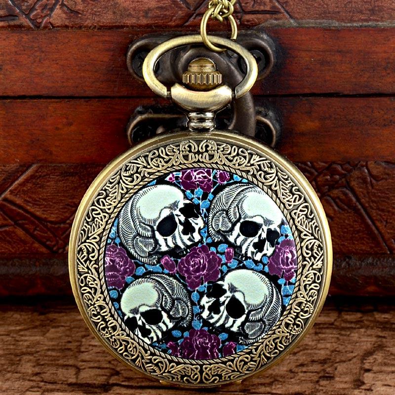 IBEINA Antique Bronze Flower Skull Steampunk Pocket Watch Vintage Men Women Skeleton Punk Quartz Necklace Watches