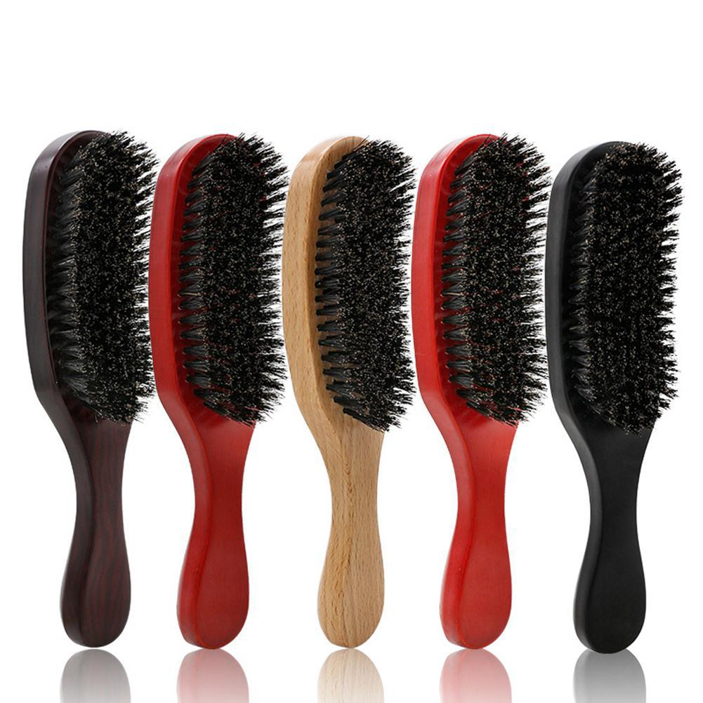 1pc Pig Bristle Wave Brush Hair Comb Hair Beard Comb Large Curved Comb Shower Massage Hairbrush Comb Salon Hair Styling Tool