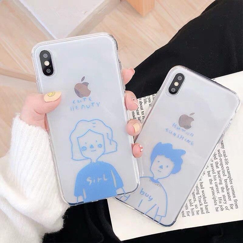 Korea Fresh boyfriend girls Transparent Couple cute phone case for coque iPhone 7 8 6 plus