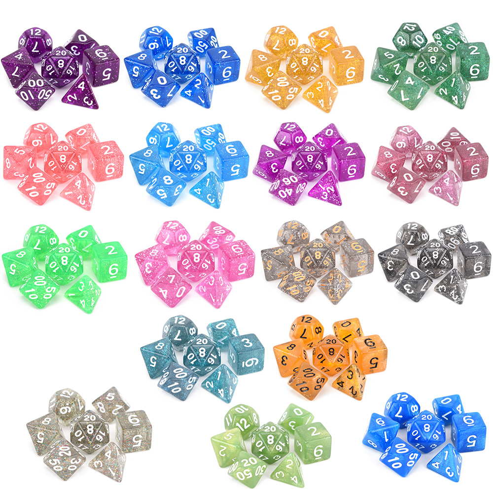 Блестящие многогранные игральные кости 7 шт./компл. набор костей для ролевых игр d4 d6 d8 d10 d % d12 d20 для DnD MTG настольные RPGs
