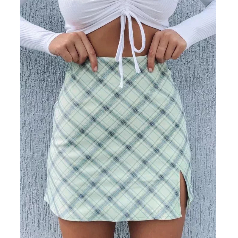 Women Side Split Check Mini Skirt In Light Green